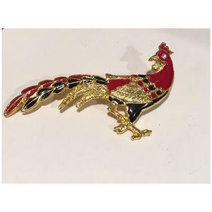 Vintage Black Red Enamel Peacock Brooch Pin